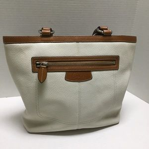 Coach white and brown leather handbag